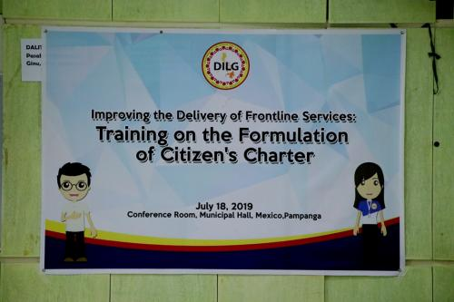 Improving Delivery of Frontline Services: Training on the Formulation of Citizen's Charter
