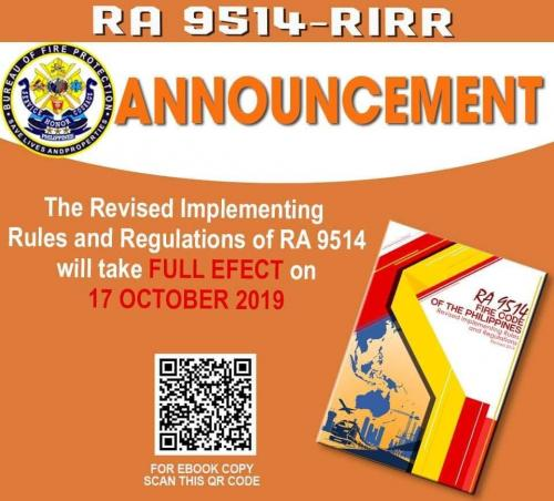 REVISED IRR OF RA 9514 (FIRE CODE OF THE PHILIPPINES OF 2008)